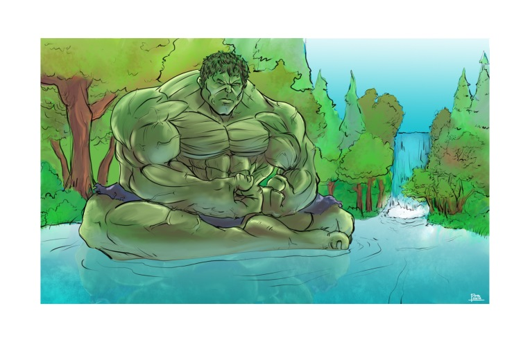 Hulk meditating calm